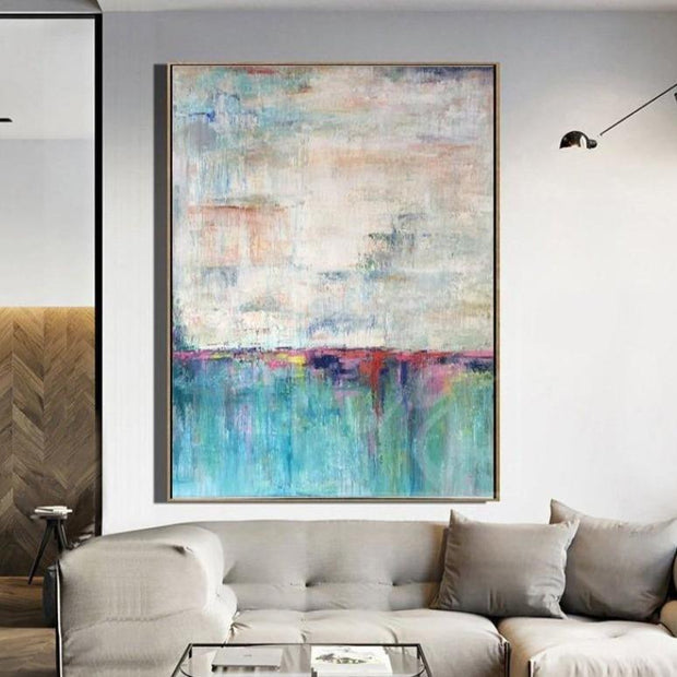 Abstract Acrylic Painting On Canvas Large Turquoise Painting Beige Painting Texture Art | TURQUOISE LAKE - Trend Gallery Art | Original Abstract Paintings