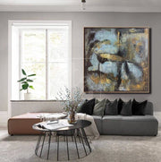 Abstract Art in Grey, Blue and Gold | ROLLING-STONES - Trend Gallery Art | Original Abstract Paintings