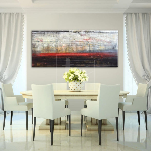Abstract Art in White, Black and Red | OBSESSION - Trend Gallery Art | Original Abstract Paintings