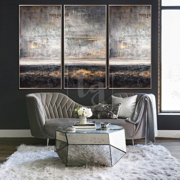 Abstract Art Large Gray Painting Brown Painting White Abstract Painting Landscape Painting | SILVER SKY - Trend Gallery Art | Original Abstract Paintings