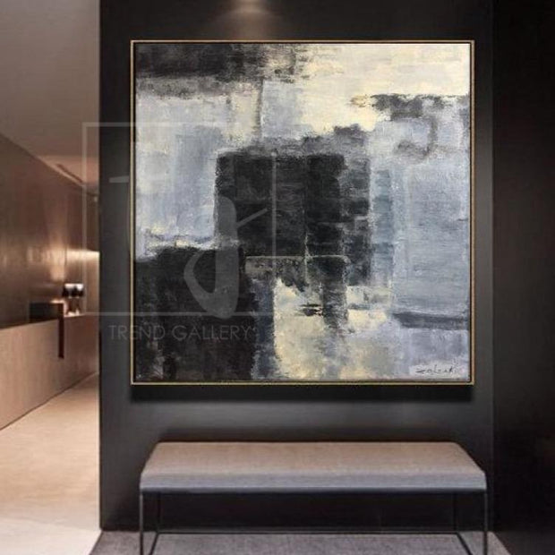 Abstract Beige Painting Gray Painting Black Wall Art Oil Canvas Painting | STONE CONSCIOUSNESS - Trend Gallery Art | Original Abstract Paintings