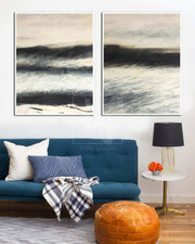 Abstract Canvas Art Black And White Wall Art Sets Painting Large Abstract Painting 2 Piece | STORM SURF - Trend Gallery Art | Original Abstract Paintings