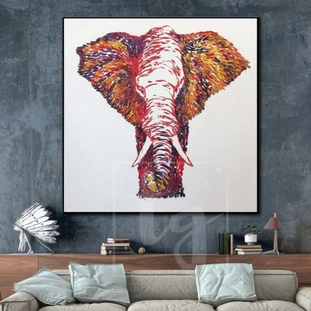 Abstract Elephant Painting Animal Paintings On Canvas Elephant Wall Painting | PROBOSCIS - Trend Gallery Art | Original Abstract Paintings