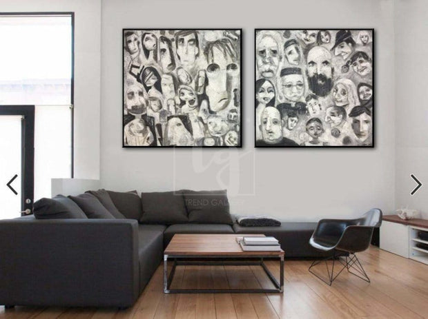 Abstract Faces Set Of Painting Extremely Unique Paintings On Canvas | DIFFERENT PEOPLE - Trend Gallery Art | Original Abstract Paintings
