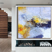 Abstract Landscape Art in Royal Blue and Cadmium Yellow | THE LAST LEAF - Trend Gallery Art | Original Abstract Paintings