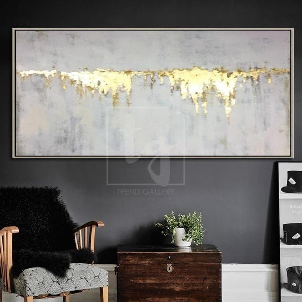 Abstract Oil Painting Gray Painting Gold Leaf Wall Art Painting On Canvas | FIRE STREAM - Trend Gallery Art | Original Abstract Paintings