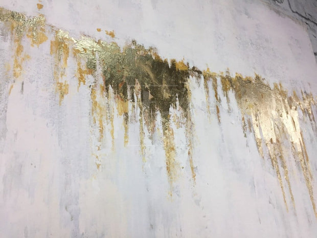 Abstract Oil Painting Original Canvas Gray Painting Gold Painting Contemporary Art | GOLDEN WATERFALL - Trend Gallery Art | Original Abstract Paintings