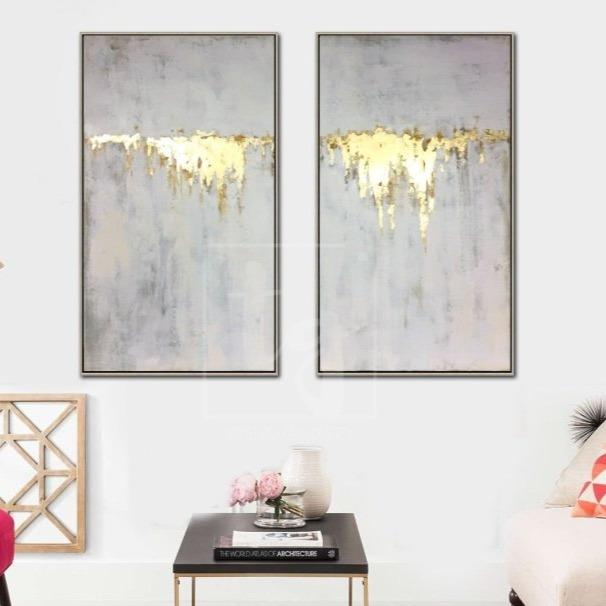 Abstract Oil Painting Original Canvas Gray Painting Gold Leaf Painting 2 Piece | GOLDEN WATERFALL - Trend Gallery Art | Original Abstract Paintings