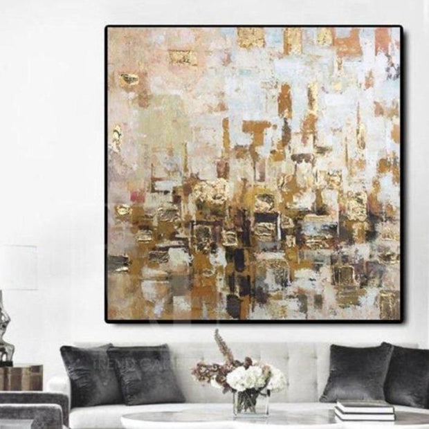 Abstract Painting Canvas Large Abstract Oil Painting Gold Original | GOLDEN WEAVING - Trend Gallery Art | Original Abstract Paintings