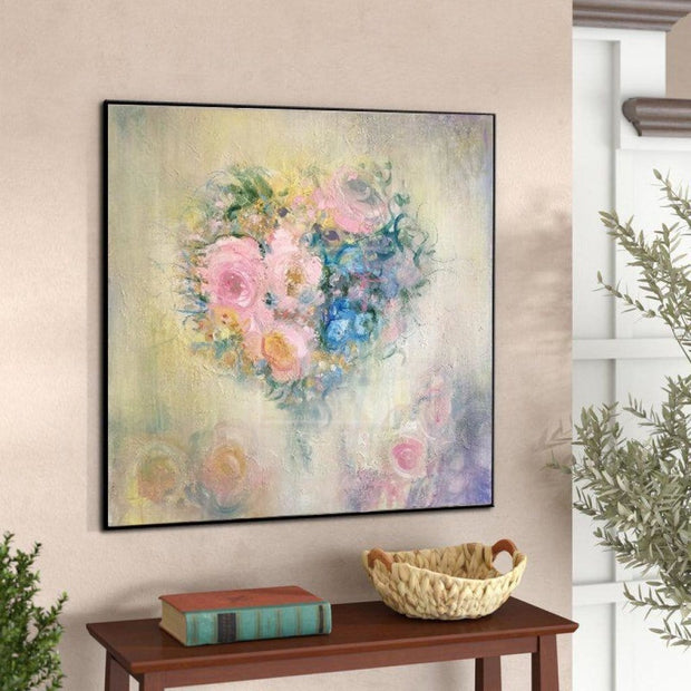 Abstract Painting Flower Painting Romantic Wall Art Colorful Painting Beige Abstract Painting | ROMANTIC BOUQUET - Trend Gallery Art | Original Abstract Paintings