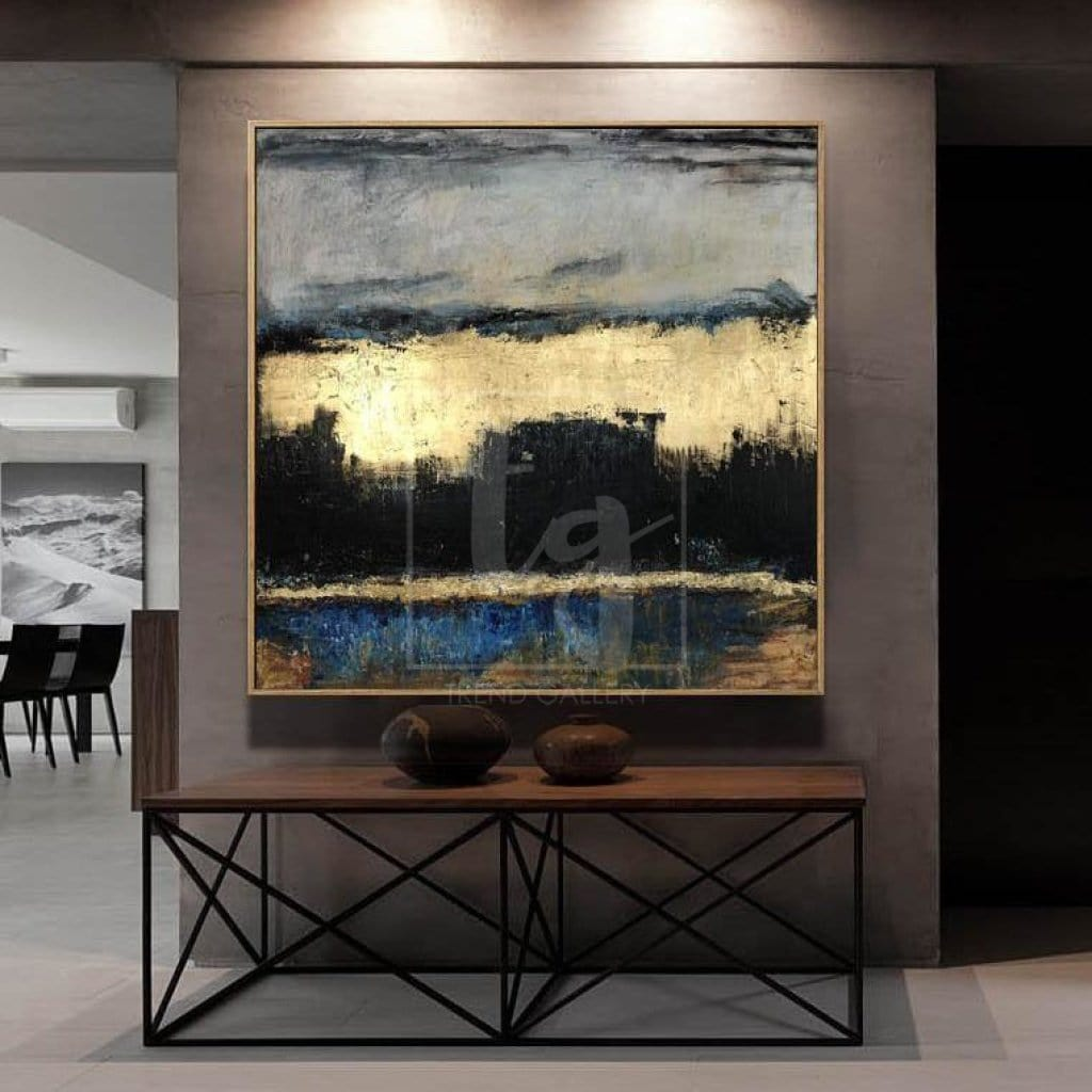 Abstract Painting Gold Leaf Dramatic Painting Thick Texture Diamond  Painting Office Painting Dark Art   GOLDEN SUNSET