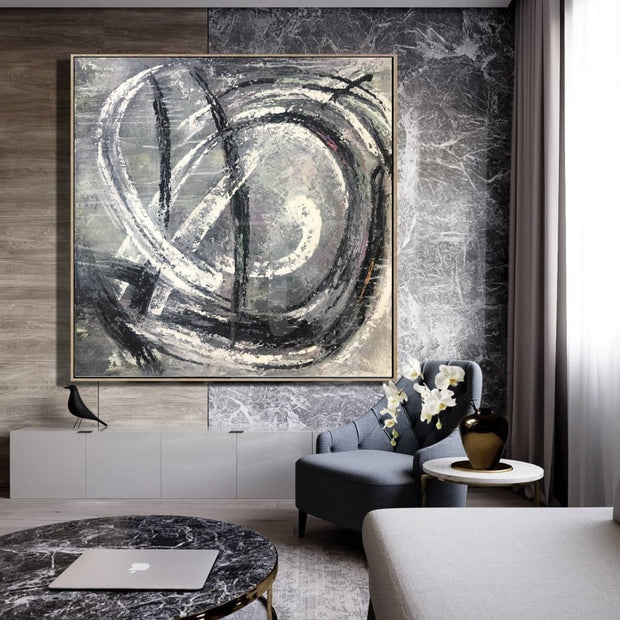 Abstract Painting in Black and White | WHIRLPOOL - Trend Gallery Art | Original Abstract Paintings