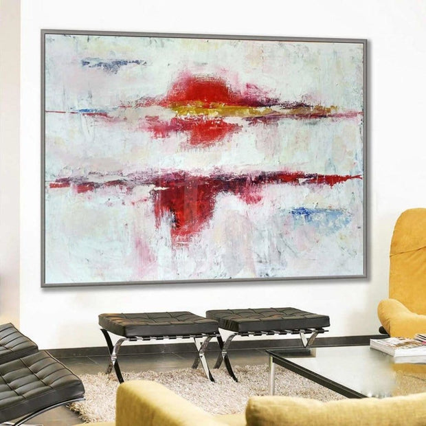 Abstract Painting in White, Red and Gold | PASSION - Trend Gallery Art | Original Abstract Paintings