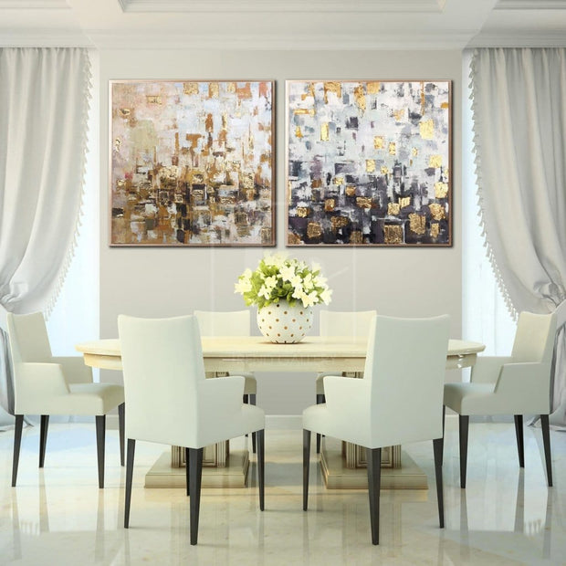 Abstract Painting Large Oil Painting Original Canvas White Abstract Painting Gold Painting 2 Piece | ORIGINAL WEAVING - Trend Gallery Art | Original Abstract Paintings