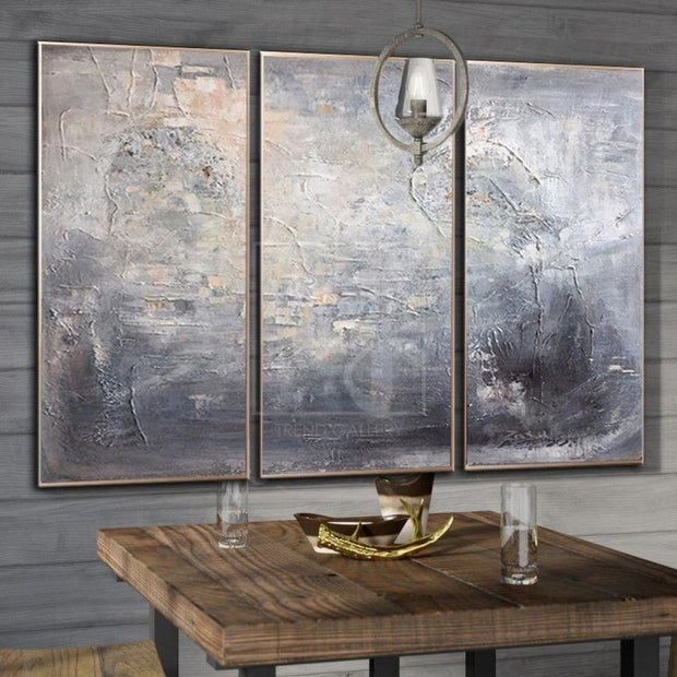 Abstract Painting Original Large Gray Painting Contemporary Painting Canvas | SILVER REFLECTION - Trend Gallery Art | Original Abstract Paintings