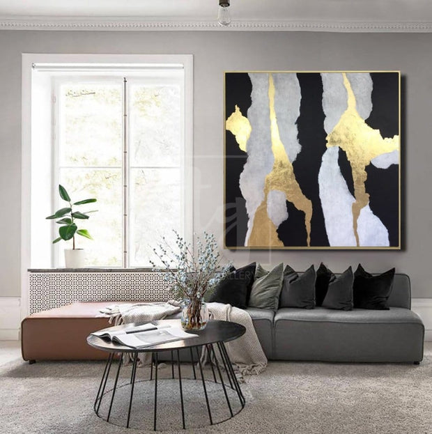 Black And White Painting Golden Leaf Painting On Canvas Abstract Living Room Decor | SOUL NOTES - Trend Gallery Art | Original Abstract Paintings