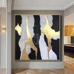 Black And White Painting Golden Leaf Painting On Canvas Abstract Living Room Decor | SOUL NOTES