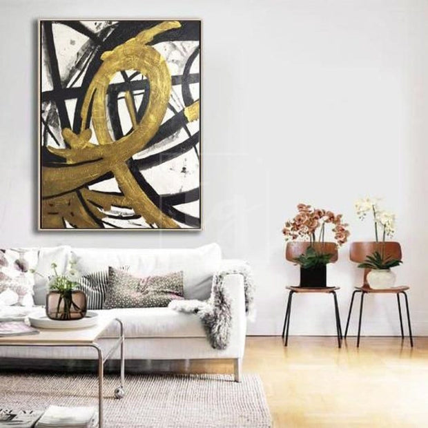 Black Painting White Painting Gold Painting Abstract Original Painting On Canvas | LOOP OF INFINITY - Trend Gallery Art | Original Abstract Paintings