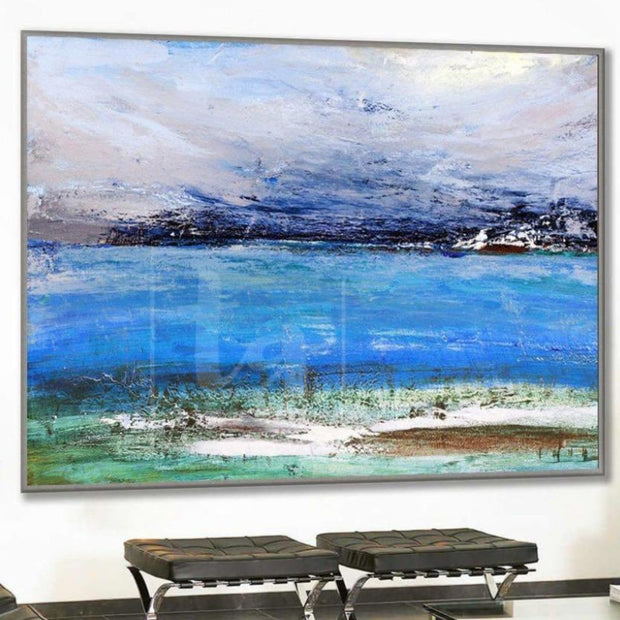 Blue Painting Landscape Painting Navy Blue Painting Coastal Heavy Texture Painting Abstract | CRYSTAL PURITY - Trend Gallery Art | Original Abstract Paintings
