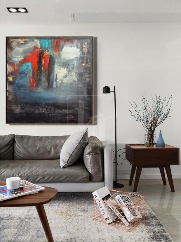 Colorful Abstract Painting in Grey, Blue and Red | FAIRY DREAMS - Trend Gallery Art | Original Abstract Paintings