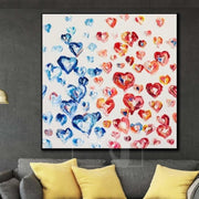 Colorful Oil Painting Hearts Abstract Artwork Large Hearts Painting | MUTUAL LOVE - Trend Gallery Art | Original Abstract Paintings