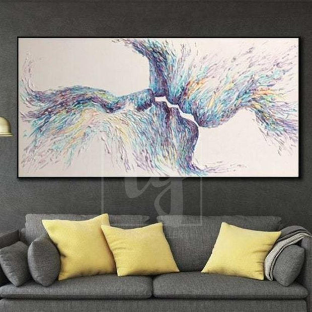 Creative Romantic Abstract Artwork Modern Kissing Couple Painting | REUNION - Trend Gallery Art | Original Abstract Paintings