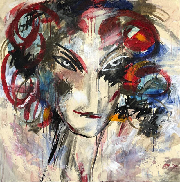 Large Frame Wall Art Woman Painting Acrylic Colorful Wall Art Abstract Oil Canvas Painting Large Wall Decor | GIRL FROM THE PAST - Trend Gallery Art | Original Abstract Paintings