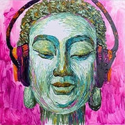 Large Face Painting Portrait Painting Buddha Headphones Oil Painting | INSPIRATIONAL VIBE - Trend Gallery Art | Original Abstract Paintings