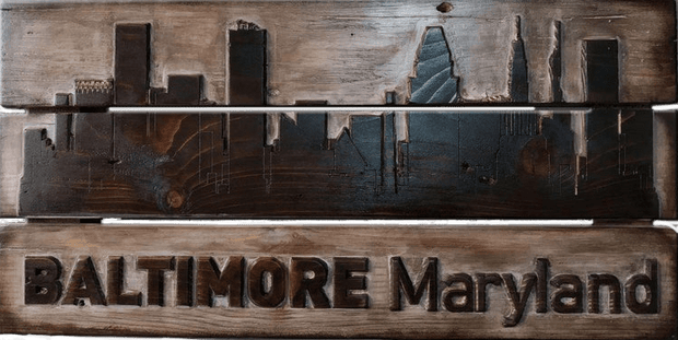 Carved Wall Art Baltimore Maryland Wooden Sign Wall Hanging Decor Baltimore Cityscape Wall Art Wood Burning Art Office Decor Gift For Him | WOOD DECOR #2 - Trend Gallery Art | Original Abstract Paintings