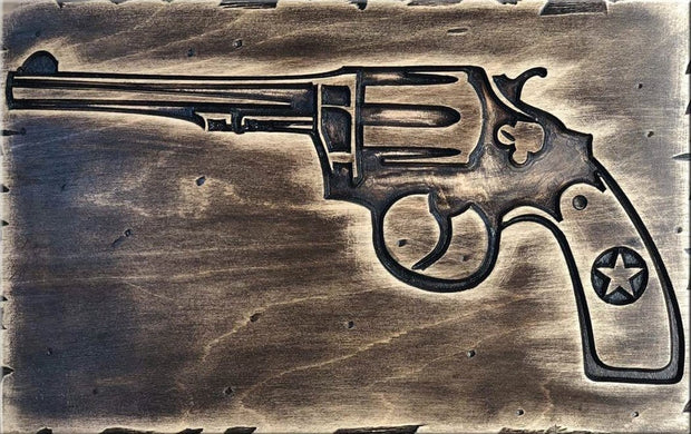 Revolver Wall Hanging Colt 45 Engraved on Wood Office Decor USA Gun Art Far West Wall Decor Home Bar Decor Wooden Wall Decor Gun Artwork - Trend Gallery Art | Original Abstract Paintings