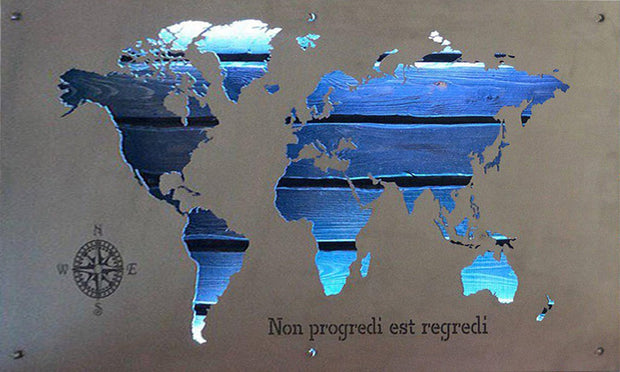 Unique RGB Metal World Map Ambient Light Map Wooden World Map RGB LED Backlight Wooden 3D Map Art Decor Multicolor Wall Hanging Artwork | WOOD DECOR# 48 - Trend Gallery Art | Original Abstract Paintings