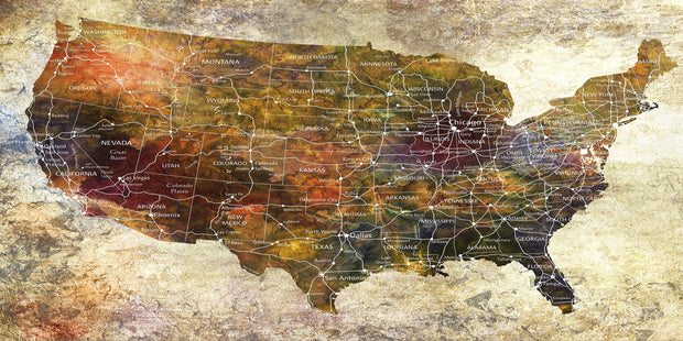 Original Push Pin Travel USA Map Wall Art Colorful Decor Photo on Canvas USA Modern Map Set Office Wall Print Photo Decor on Canvas | PRINT ON CANVAS #238 - Trend Gallery Art | Original Abstract Paintings