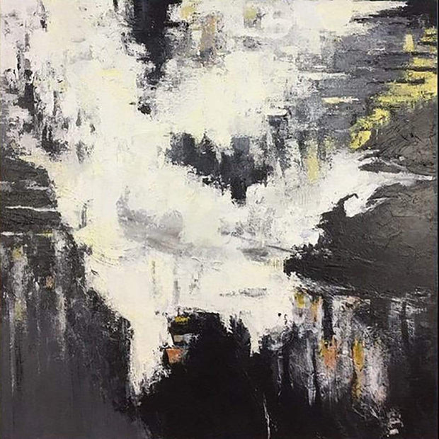 Black And White Oil Painting Abstract Painting Black White Painting | SEA FOAM - Trend Gallery Art | Original Abstract Paintings