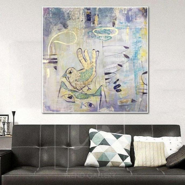 Extra Large Abstract Painting Gray Canvas Art Bird Wall Art Bird Painting | IN THE ANIMAL WORLD - Trend Gallery Art | Original Abstract Paintings
