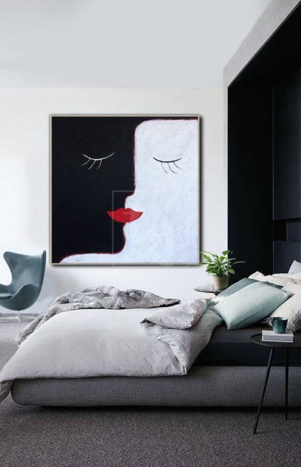 Faces Original Abstract Painting Oversized Abstract Wall Painting On Canvas Black Painting Love Abstract | FUSION OF HEARTS - Trend Gallery Art | Original Abstract Paintings
