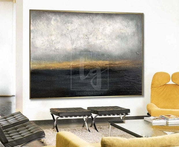 Gold Horizon Painting Abstract Sunset Painting Thick Paint Unique Abstract Painting | DARK WATERSCAPE - Trend Gallery Art | Original Abstract Paintings