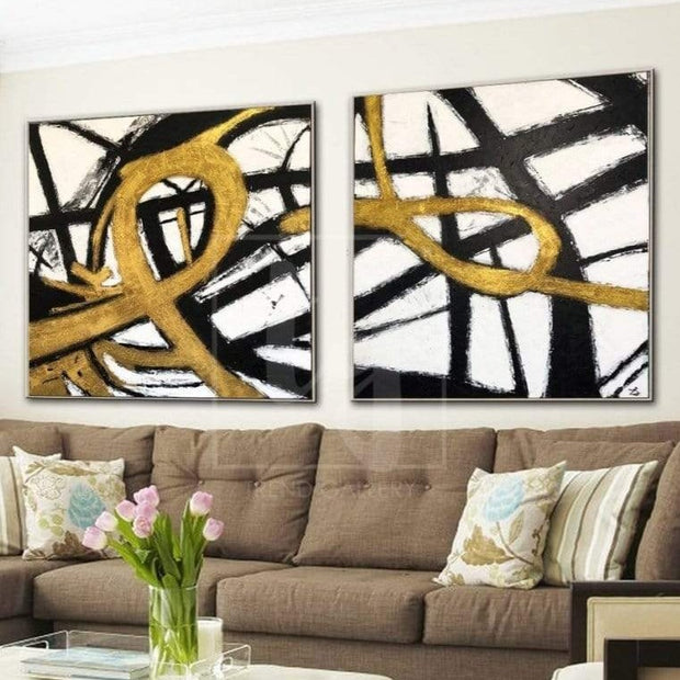 Gold Painting Black And White Wall Art Original Painting On Canvas 2 Piece | FATEFUL LOOPS - Trend Gallery Art | Original Abstract Paintings
