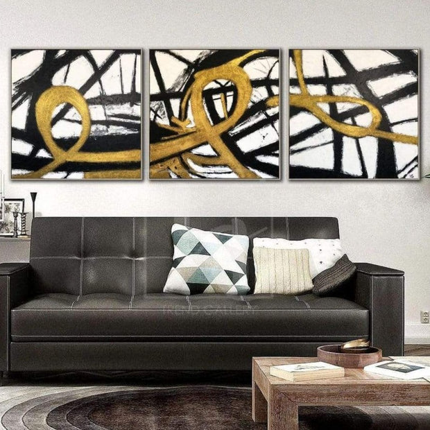 Gold Painting Black And White Wall Art Original Painting On Canvas | LOOPS OF FATE - Trend Gallery Art | Original Abstract Paintings