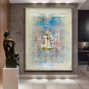 Beige Painting Blue Painting Winter Oil Painting Canvas Abstract Painting Contemporary Art | HEAVEN'S BELL - Trend Gallery Art | Original Abstract Paintings