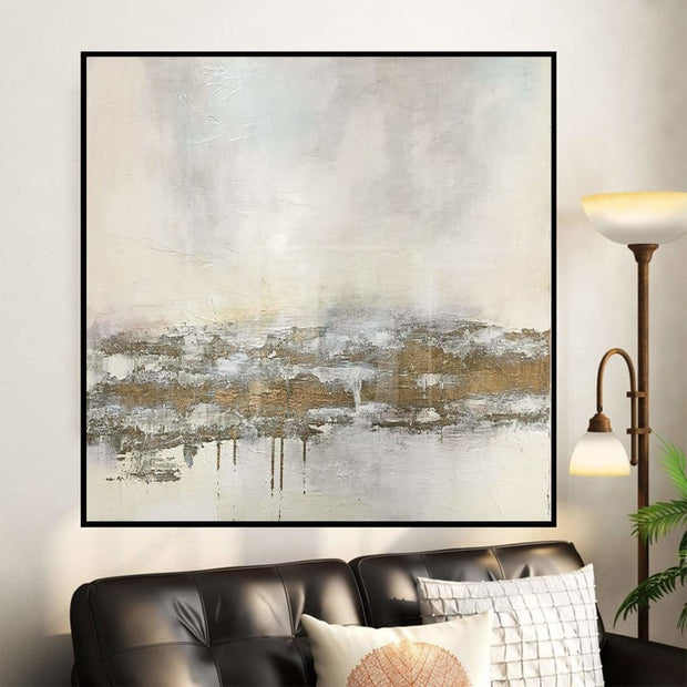 Gold Painting White Wall Art Office Painting Large Original Abstract Painting | TRADE ROUTE - Trend Gallery Art | Original Abstract Paintings