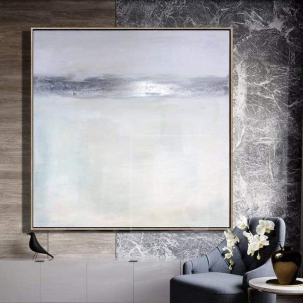 Gray Painting Silver Leaf Painting Beige Painting Modern Art Painting Canvas | SILVER FLASH - Trend Gallery Art | Original Abstract Paintings