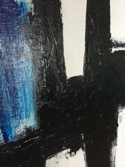 Large Canvas Art Original Black And White Art Blue Canvas Acrylic Abstract Texture Art | UNEXPLAINABLE FEELING - Trend Gallery Art | Original Abstract Paintings