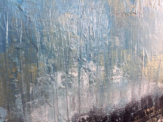 Large Oil Painting Brown Painting Blue Abstract Painting Wall Art Canvas | POURING RAIN - Trend Gallery Art | Original Abstract Paintings