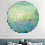 Abstract Large Green Canvas Wall Art Blue Painting | TURQUOISE MEADOW