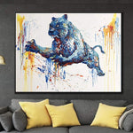 Black panther art Black panther decor Black panther Oil painting | SUDDEN ATTACK