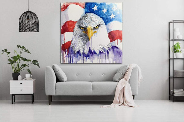 American eagle Flag painting Bald eagle Bird painting canvas | GRANDEUR OF FREEDOM - Trend Gallery Art | Original Abstract Paintings