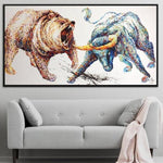 Abstract Bull and Bear Painting Stock Market Gift Office Decor Wall Street Office Painting | BULL VS BEAR