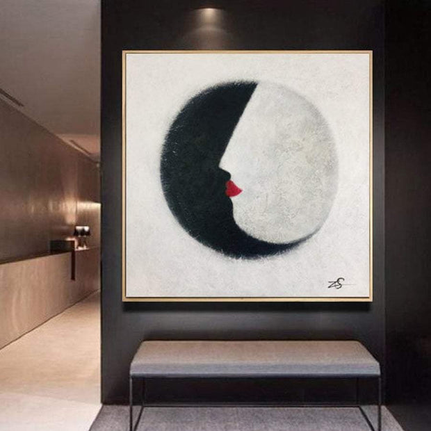 Abstract Painting Black And White Abstract Face Painting Modern Art Abstract Portrait Contemporary Art Abstract Red Lips Art | KISS OF THE NIGHT - Trend Gallery Art | Original Abstract Paintings