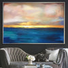 Sunset Painting Abstract Blue Ocean Wall Art Gold Horizon Fine Art Large Ocean Thick Paint Unique | SUMMER SUNSET - Trend Gallery Art | Original Abstract Paintings