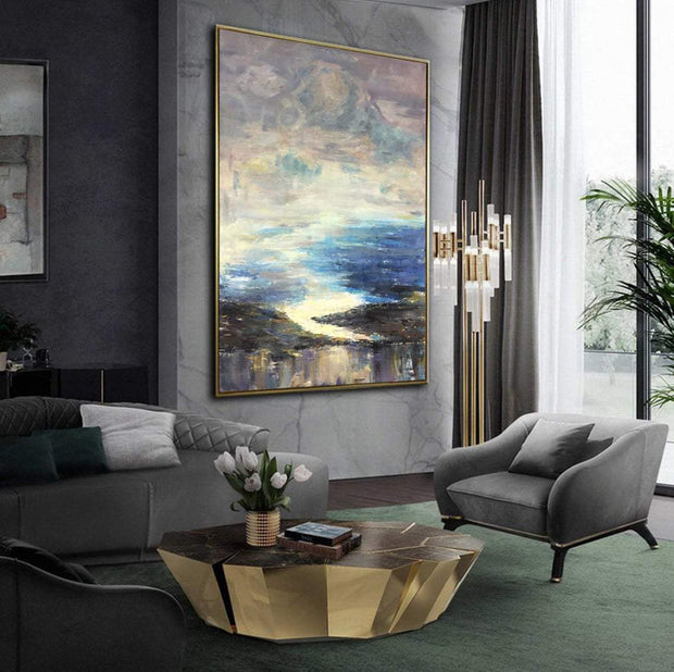 Large Landscape Paintings On Canvas Original Blue Painting Abstract Blue Sea Painting Oil Modern Painting | BEYOND THE CLOUDS - Trend Gallery Art | Original Abstract Paintings